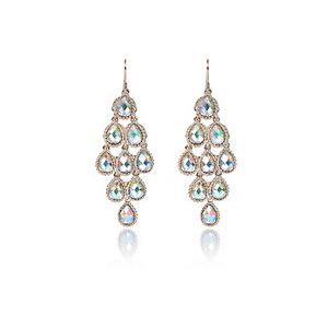 Gold tone teardrop dangly earrings