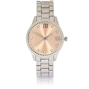 Silver tone pink face watch