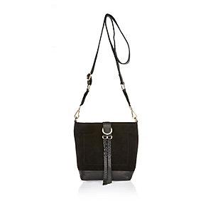 Black leather plaited bucket handbag