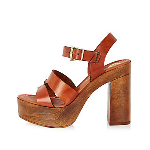 Brown leather heeled platforms