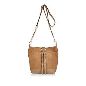 Beige leather bucket handbag
