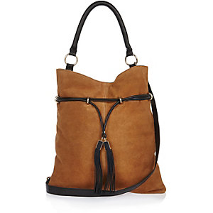 Brown suede cinched tote handbag