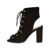 Black suede lace-up heeled shoe boots