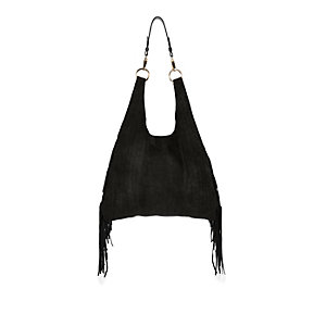 Black suede fringed slouchy handbag