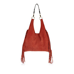 Dark orange suede fringed slouchy handbag