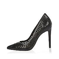 Black leather mesh court heels