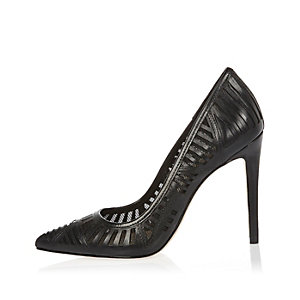 Black laser cut leather court shoes