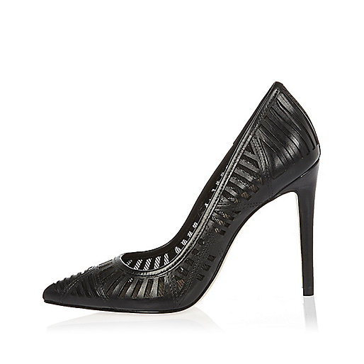 Black laser cut leather court heels