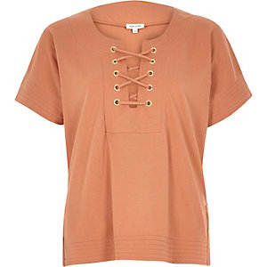 Rust lace-up front t-shirt