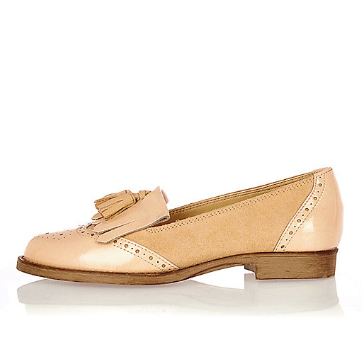 Nude leather tassel loafers