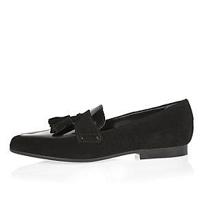 Black leather square tassel loafers