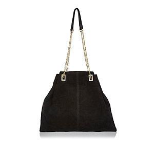Black suede slouchy handbag