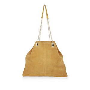 Yellow suede slouchy handbag