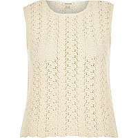 Cream knitted sleeveless top