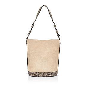 Beige suede snake print bucket handbag