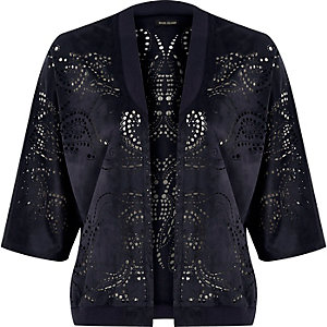 Navy laser cut bomber jacket