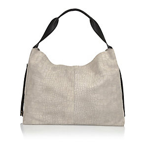 Grey leather slouchy handbag