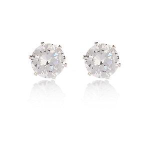 Silver tone sparkly gem stud earrings