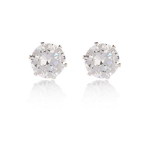 silver tone sparkly gem stud earrings earrings jewelry
