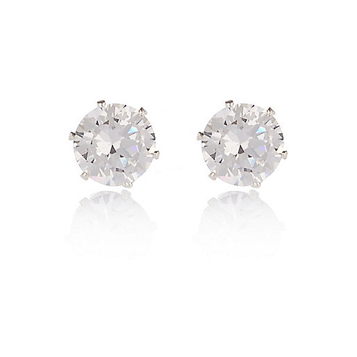 Silver tone sparkly gem stud earrings