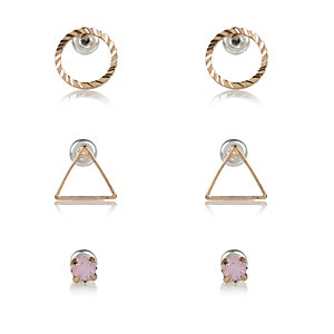 Gold tone simple shape stud earrings pack