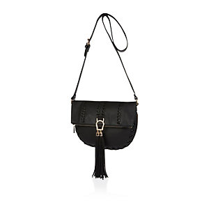 Black whipstitch saddle handbag
