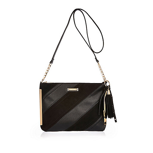 Black diagonal panel crossbody bag