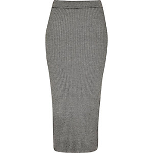 Grey ribbed midi skirt