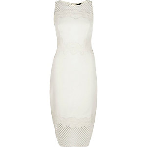 White mesh bodycon midi dress