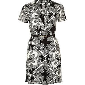 White floral print wrap tea dress