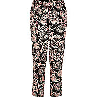 Pink print belted tapered pants