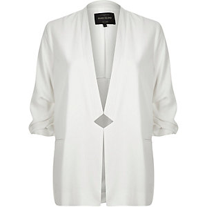 White inverse collar blazer