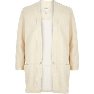 Cream jersey collarless jacket