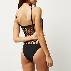 RI Resort black lattice swimsuit