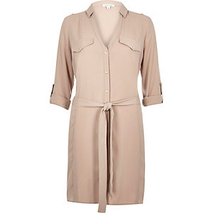 Beige crepe military shirt dress