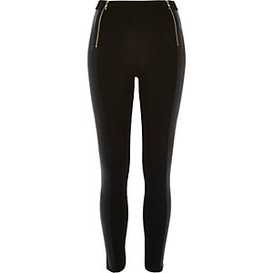 Black coated panel zip leggings