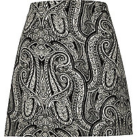 Black paisley print A-line mini skirt