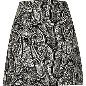 Black paisley print A-line mini skirt