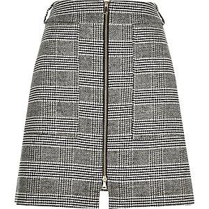 Black houndstooth check A-line skirt