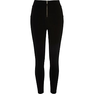 Black high waisted zip front leggings
