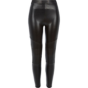 Black leather-look coated biker leggings