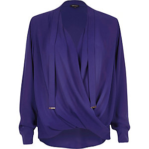 Bright blue long sleeve pussybow blouse