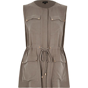 Khaki drawstring sleeveless jacket