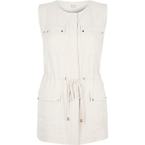 Beige sleeveless jacket
