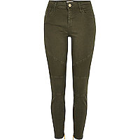 Amelie – Superskinny Bikerjeans in Khaki