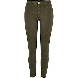 Khaki Amelie super skinny biker jeans
