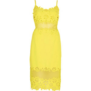 Yellow laser cut bodycon dress