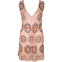 RI Resort pink embellished cover-up