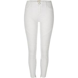 White Amelie super skinny biker jeans