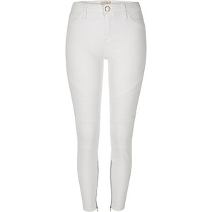 White biker-style Amelie superskinny jeans